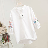Embroidered shirt female summer before seventh lantern sleeve loose V-neck striped t-shirt shirt long after short cover age belly cut shirt