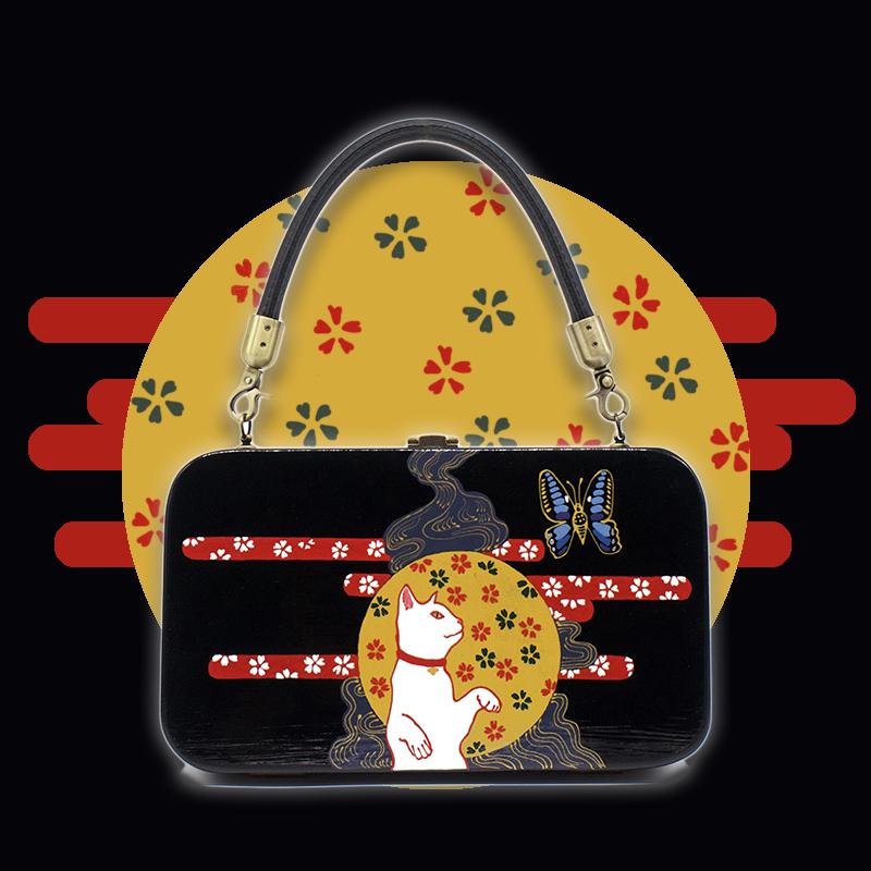 梵集FANJI小眾設計黑色和風浮世繪貓木質斜挎單肩女包手提盒子包