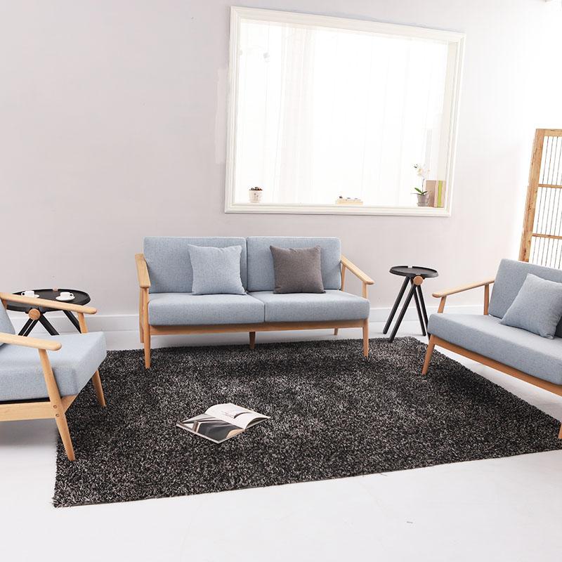 实木沙发组合客厅现代简约榉木布艺沙发小户型新中式北欧实木沙发