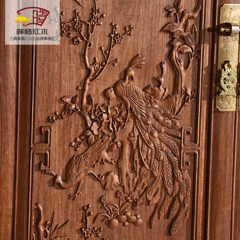 花梨 花鸟顶箱柜 山水 百子 红木衣柜 刺猬紫檀明清古典红木家具