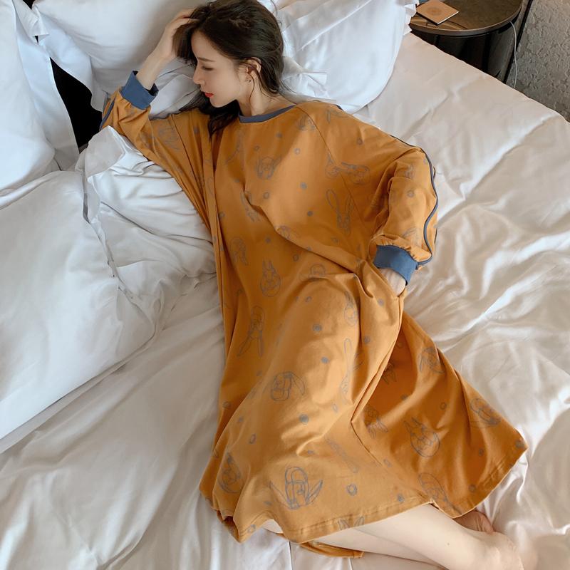 睡裙女秋纯棉长袖春季长款连衣裙卡通可外穿宽松大码女士休闲睡衣