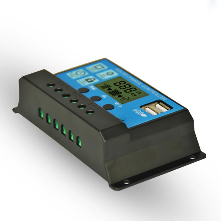 太阳能电池板控制器12V/24V10ALCD液晶显示自设参数5VUSB手机充电