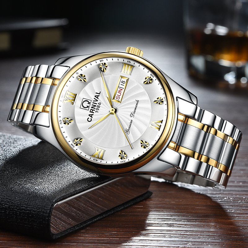183 嘉年华男士石英表镂空男表薄款腕表钢带防水腕表