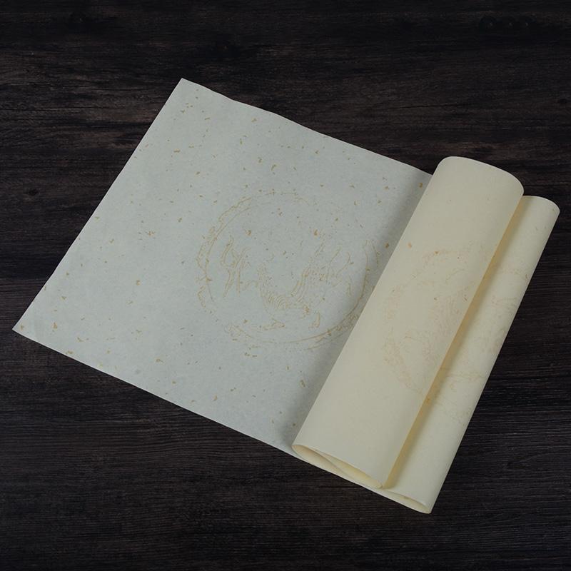 宣纸四尺对开书法作品专用纸半生半熟仿古洒金描金龙七言五言瓦当方格对联纸宣纸成人书法毛笔字练习纸