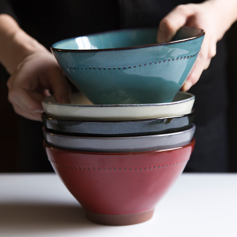 瓷彩美创意陶瓷碗餐具家用斗笠碗牛肉拉面碗汤碗泡面碗水果沙拉碗主图