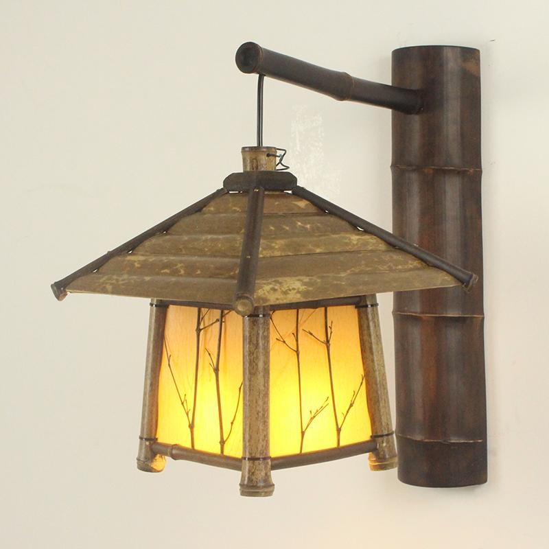 东南亚壁灯日式禅意 仿古壁灯阳台过道茶室民宿农庄复古田园竹灯