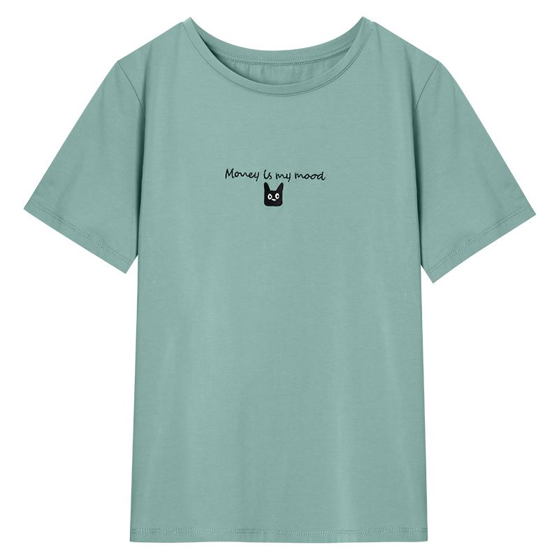 恤女夏装  T 新款纯棉妈妈短袖衫圆领丝光棉刺绣上衣 宽松字母 t 2021