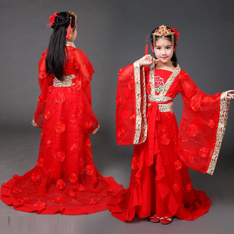 新款儿童古装女童汉服拖尾小贵妃装唐朝公主仙女装COS演出服亲子