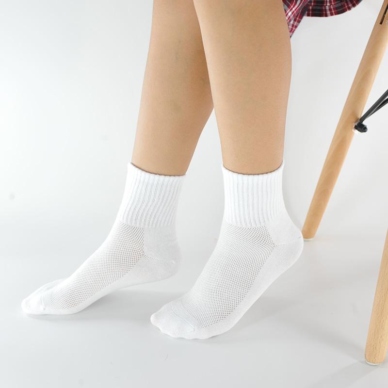 女童短筒襪子夏季網眼薄男童學生襪純棉白色黑色深灰校服運動短襪