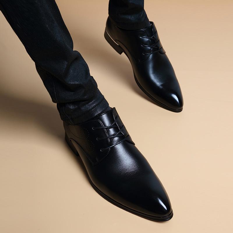 男士商务正装尖头皮鞋男内增高 韩版英伦潮流真皮透气休闲男鞋  6cm