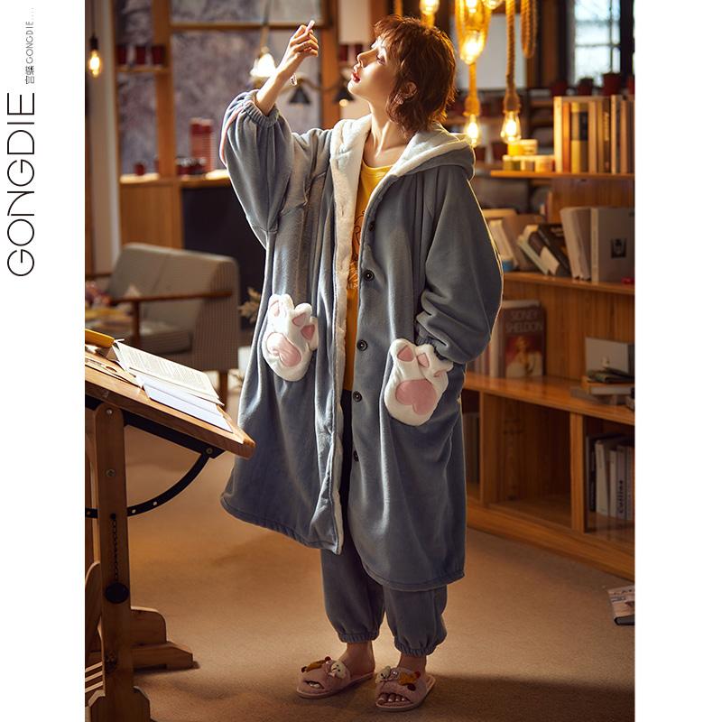 睡衣女秋冬季加厚保暖珊瑚绒睡袍中长款两件套装法兰绒家居服冬天