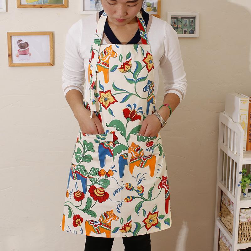 韩版围裙家用厨房时尚纯棉可爱成人罩衣女大人做饭围腰工作服定制