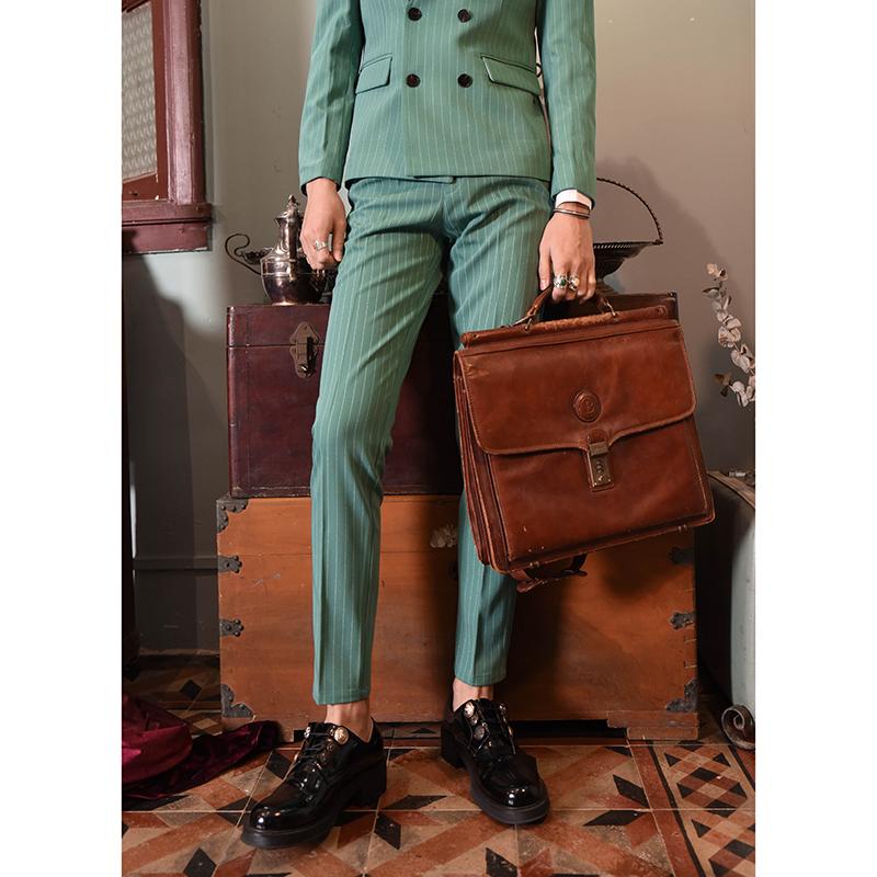 【爱穿帮】秋冬发型师小西装套装男绿色条纹双排扣网红西服潮修身