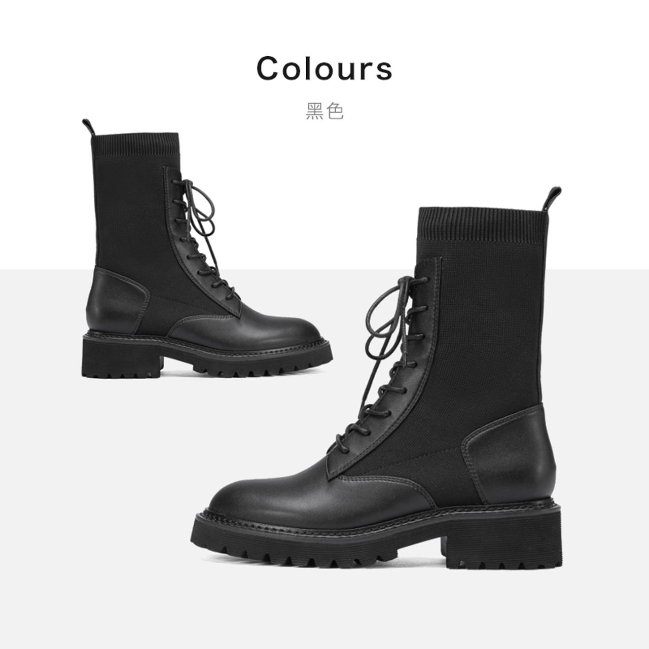 新款女靴百搭平底马丁靴短靴 2020 千百度女鞋潮流弹力靴机车靴