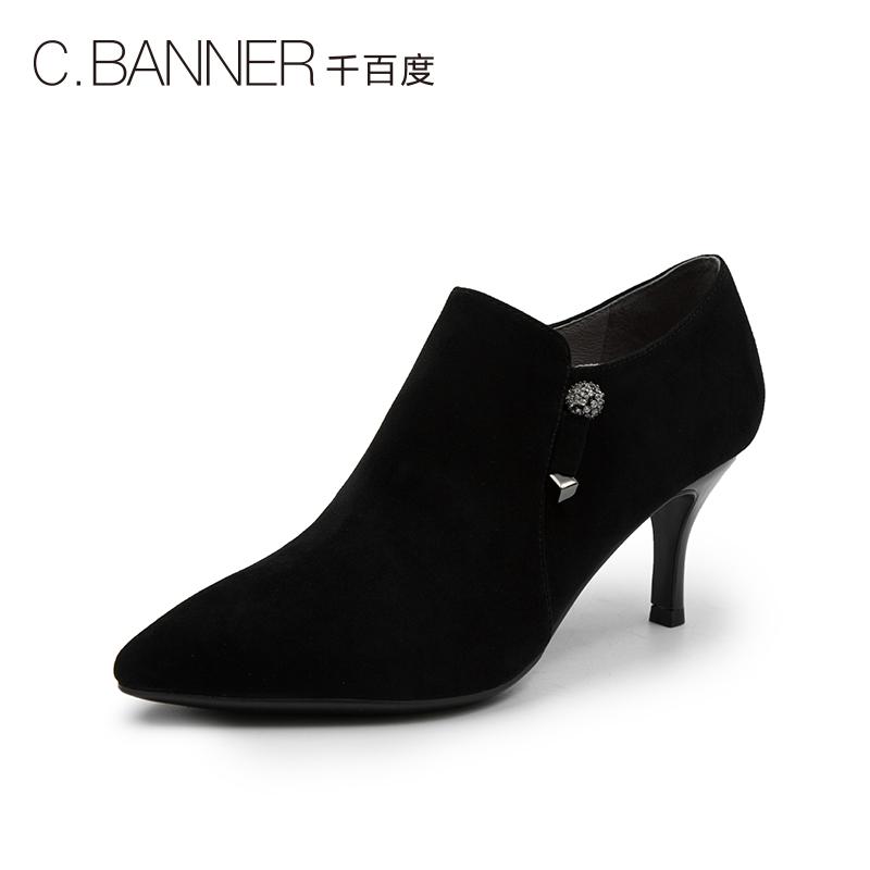A8430851WX 秋新商场同款深口高跟及踝女单鞋 2018 千百度 C.BANNER