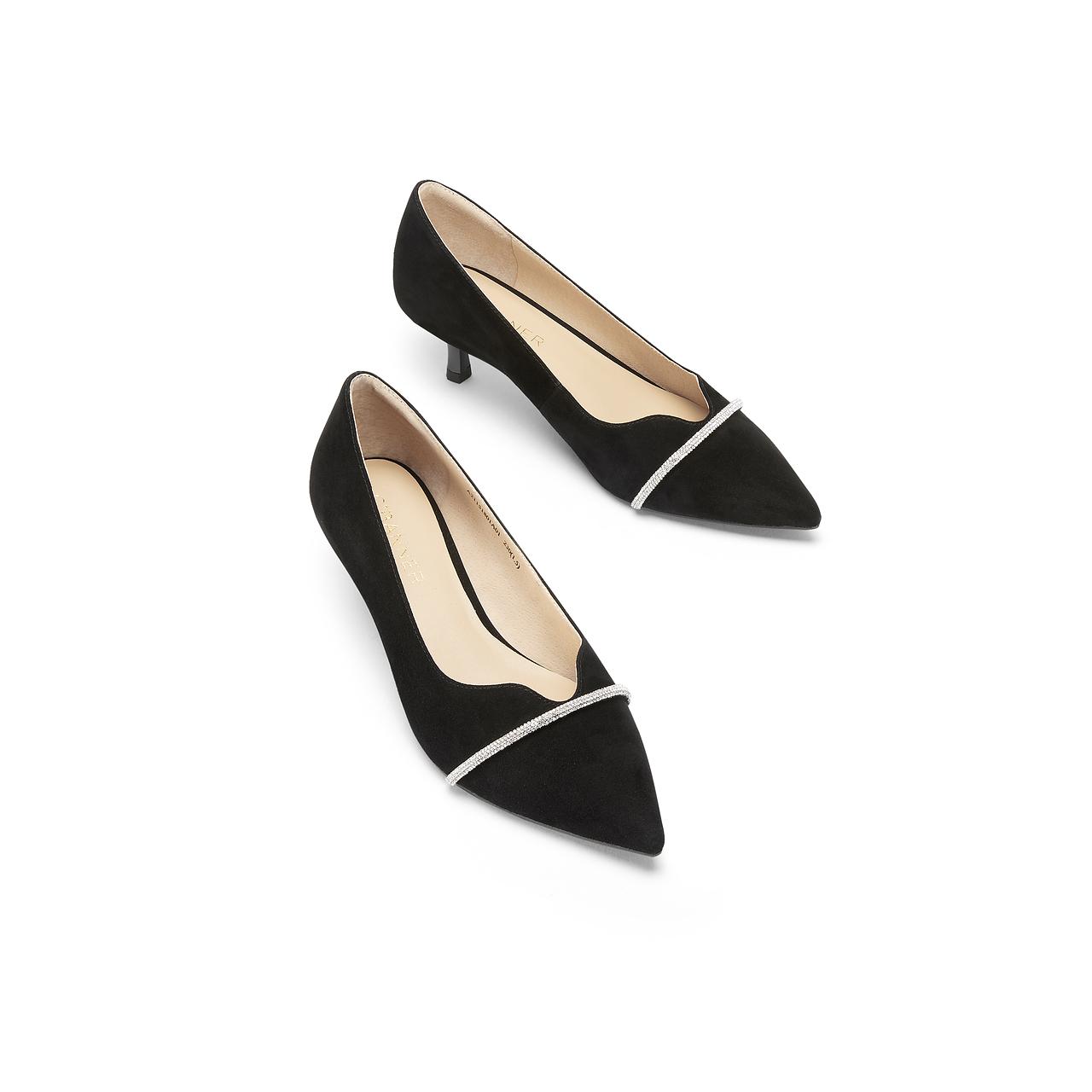 新款浅口水钻尖头鞋简约优雅羊绒单鞋女休闲中跟鞋 2021 千百度女鞋