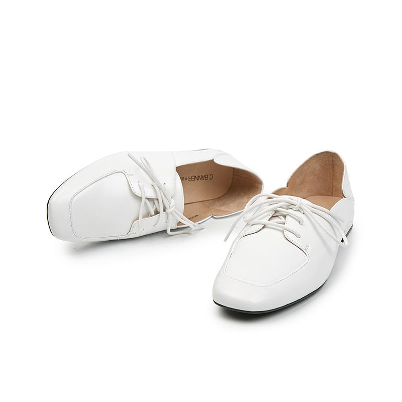 A9105412WX 春季新商场同款牛皮低跟系带休闲女单鞋 2019 千百度女鞋