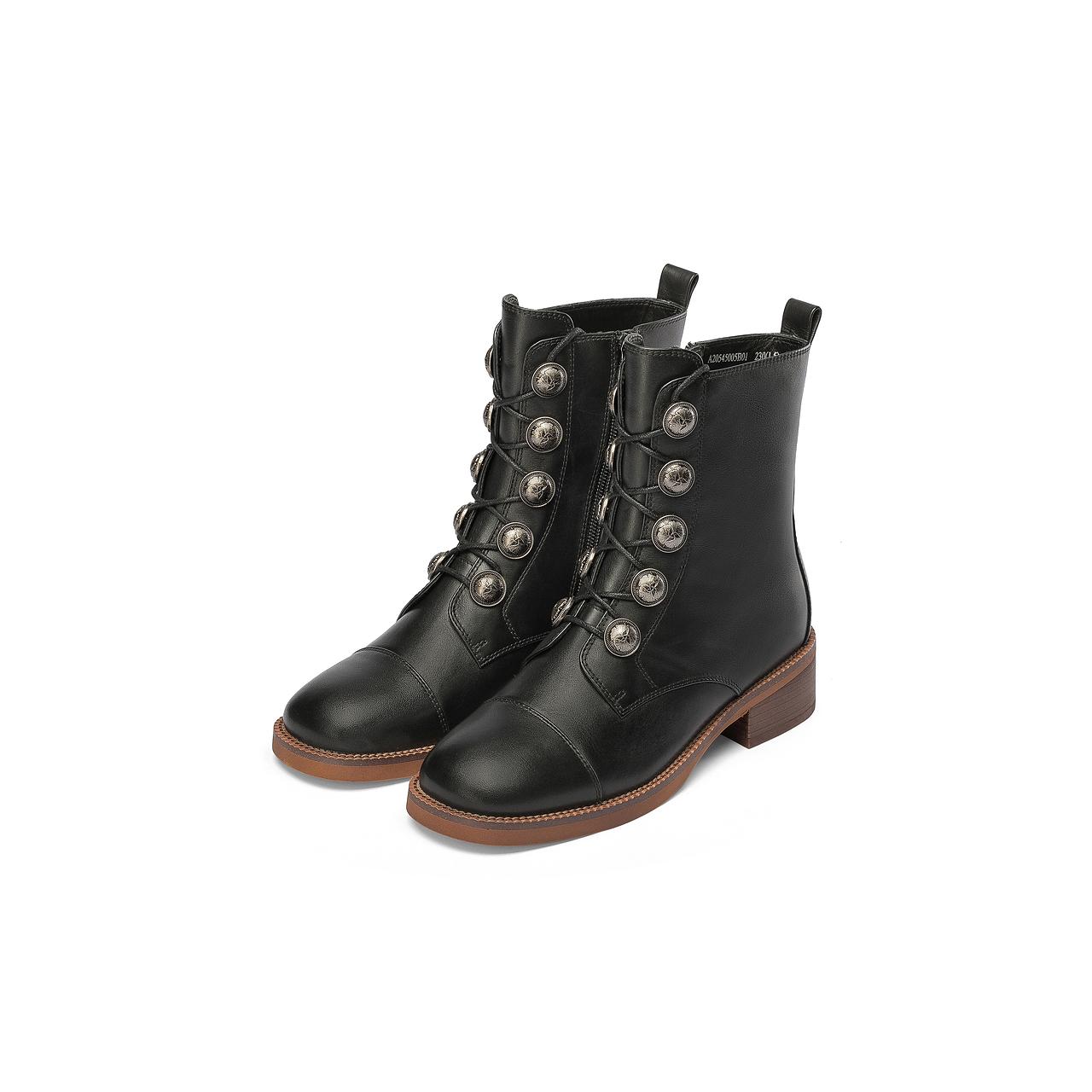 新款复古女靴街头潮流马丁靴休闲骑士靴 2020 千百度女鞋方跟短靴