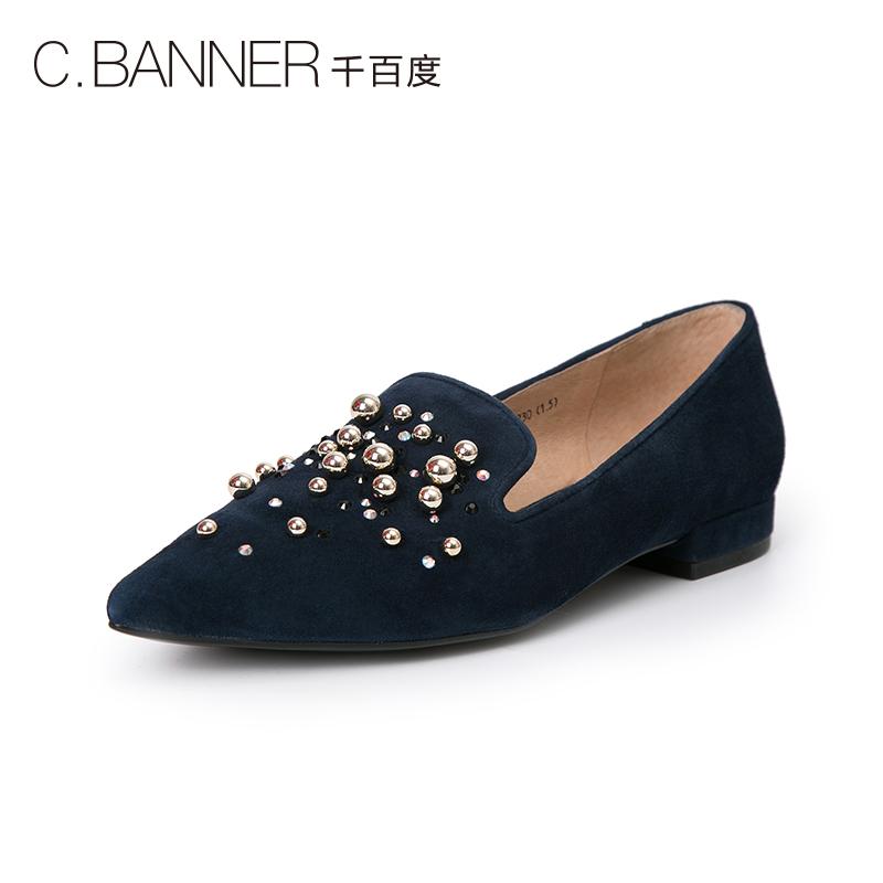 A8402505WX 秋新商场同款尖头低跟铆钉女单鞋 2018 千百度 C.BANNER