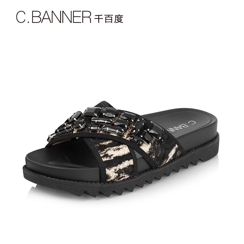 A7359316 千百度夏季商场同款懒人拖鞋厚底女鞋拖鞋凉鞋 C.BANNER