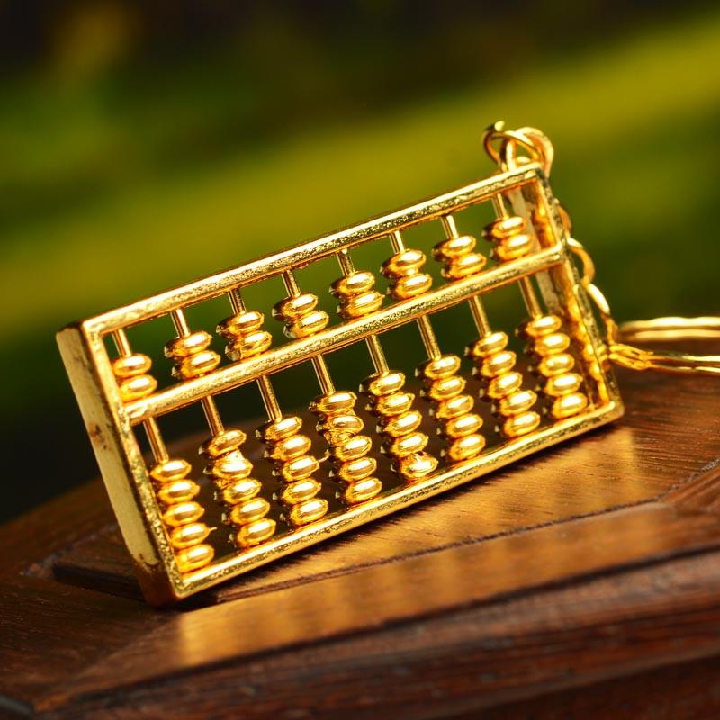 风水阁全铜算盘大号钥匙扣文昌塔笔金色算盘摆件日进斗金家居摆件