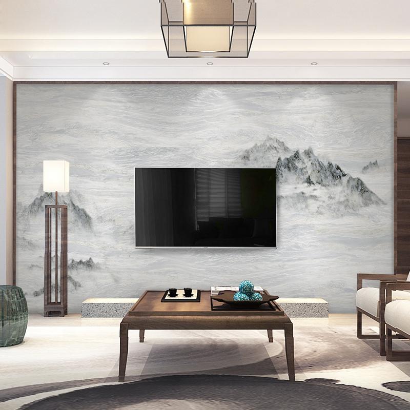 新中式壁纸客厅电视背景墙布定制大理石水墨山水艺术大型壁画墙纸
