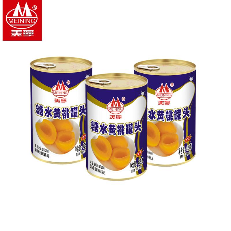美宁糖水黄桃罐头425g*3对开特产水果什锦方便美味沙拉推荐