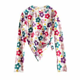 泫雅风上衣夏季薄款冰丝网纱修身防晒内搭月亮花朵打底衫女长袖潮