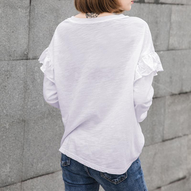 秋季休闲竹节棉荷叶长袖t恤女装韩国宽松大码纯棉打底衫大版上衣