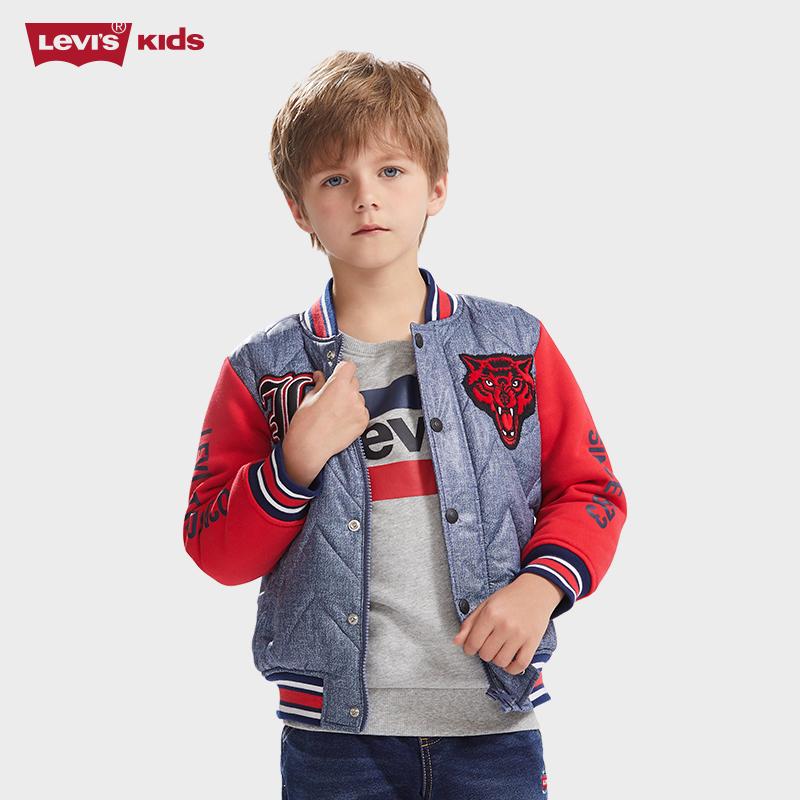 降110元 Levi's 李维斯 复古系列 男童棒球领棉夹克 双重优惠折后¥219包邮 105-165cm码可选