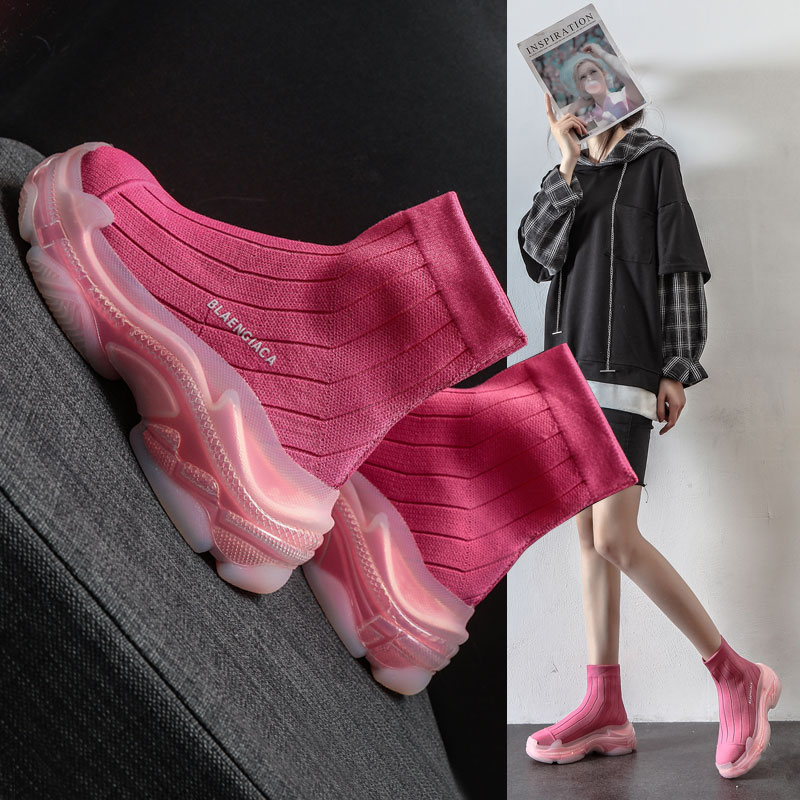 弹力袜子鞋女ins潮2021春季新款百搭水晶底爆款针织高帮老爹靴
