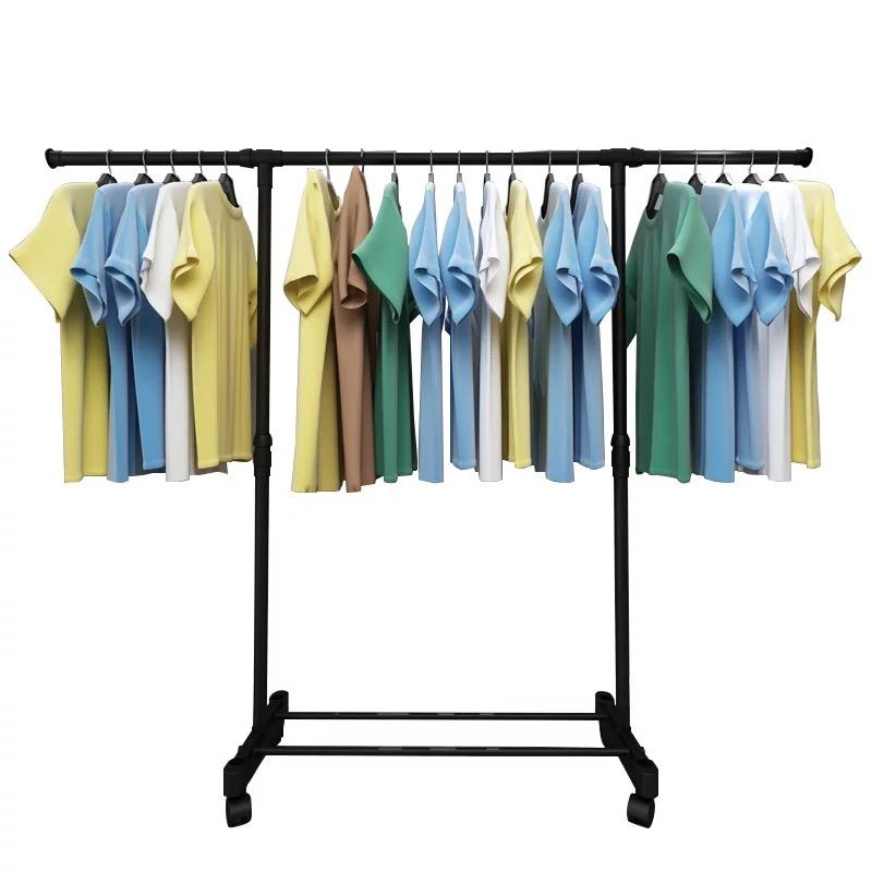 不锈钢晾衣架落地单杆式伸缩挂晒衣架阳台升降室内简易组合凉衣架