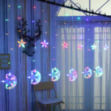 LED lantern flashing string lights stars moon lights starry curtain lights room bedroom net red background decorative lights