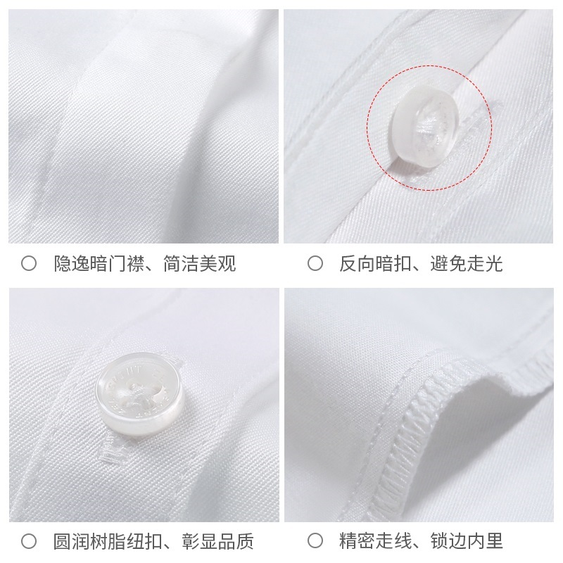 白色衬衫女短袖职业2021夏季薄款气质面试正装工装V领衬衣工作服主图