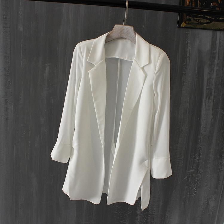 夏季韩版新款修身中长款雪纺小西装女薄百搭宽松大码显瘦西服外套