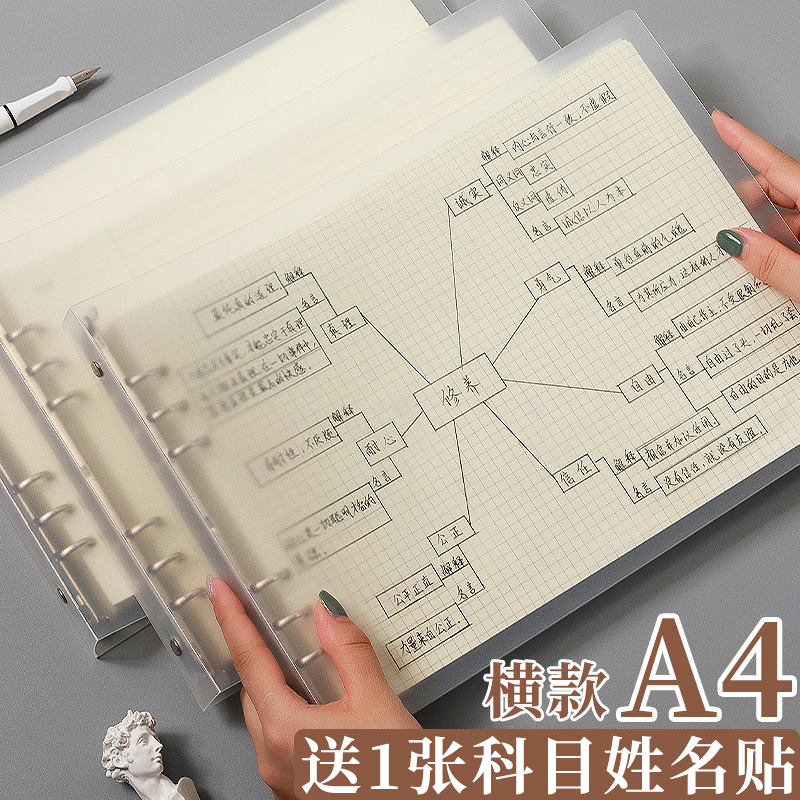 A4活页本思维导图笔记本子透明可拆卸线圈本简约ins风加厚网格本康奈尔横向记事本大学生考研日记本6孔空白本