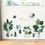 Nordic ins green plant stickers living room background wall net red decorations room rent room layout bedroom renovation stickers