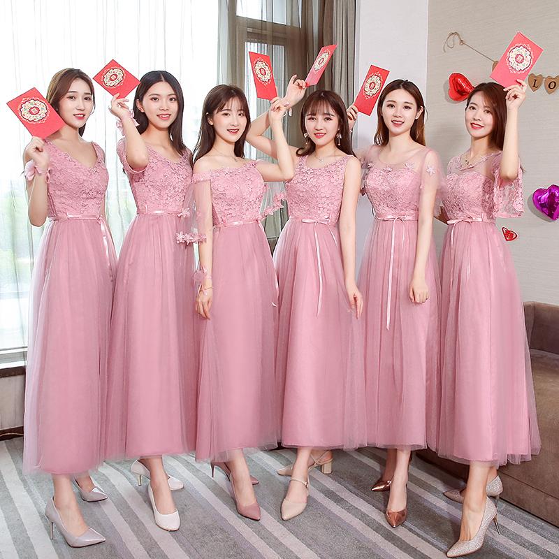 伴娘礼服2018新款长款韩版显瘦大码姐妹团伴娘服裙肩毕业礼服女