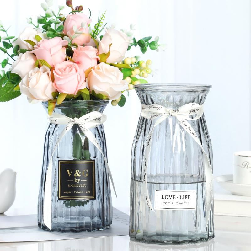 玻璃干花透明花瓶欧式水培绿萝植物花瓶客厅摆件百合插 二件套
