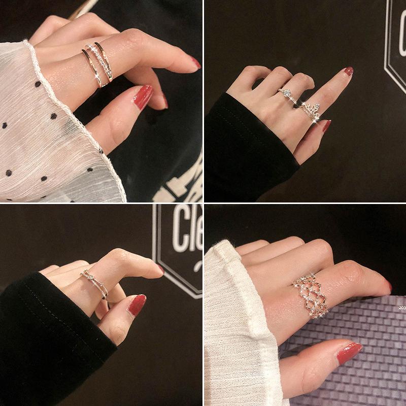 日式轻奢网红少女冷淡风可调节戒指时尚个姓学生小众设计尾戒指环