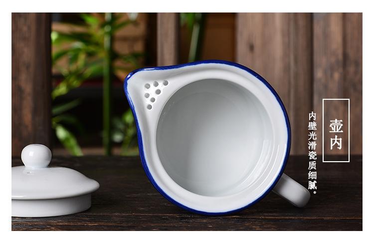 迷你小号仿搪瓷水杯创意陶瓷茶具套装怀旧复古茶缸一壶六杯子包邮