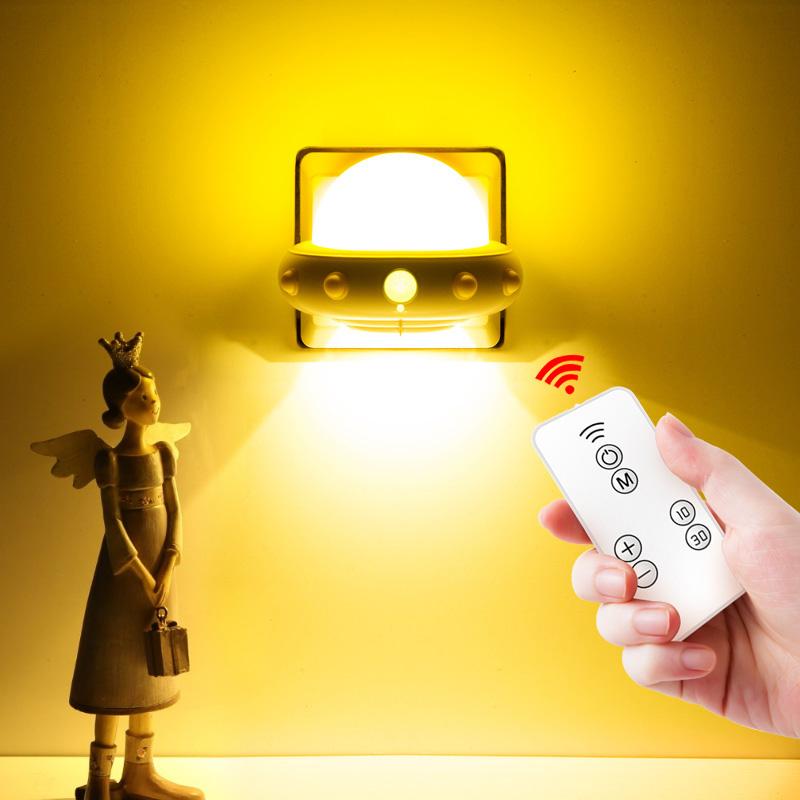 无线遥控小夜灯泡卧室床头插座式插电带开关智能家用摇控暗灯台灯