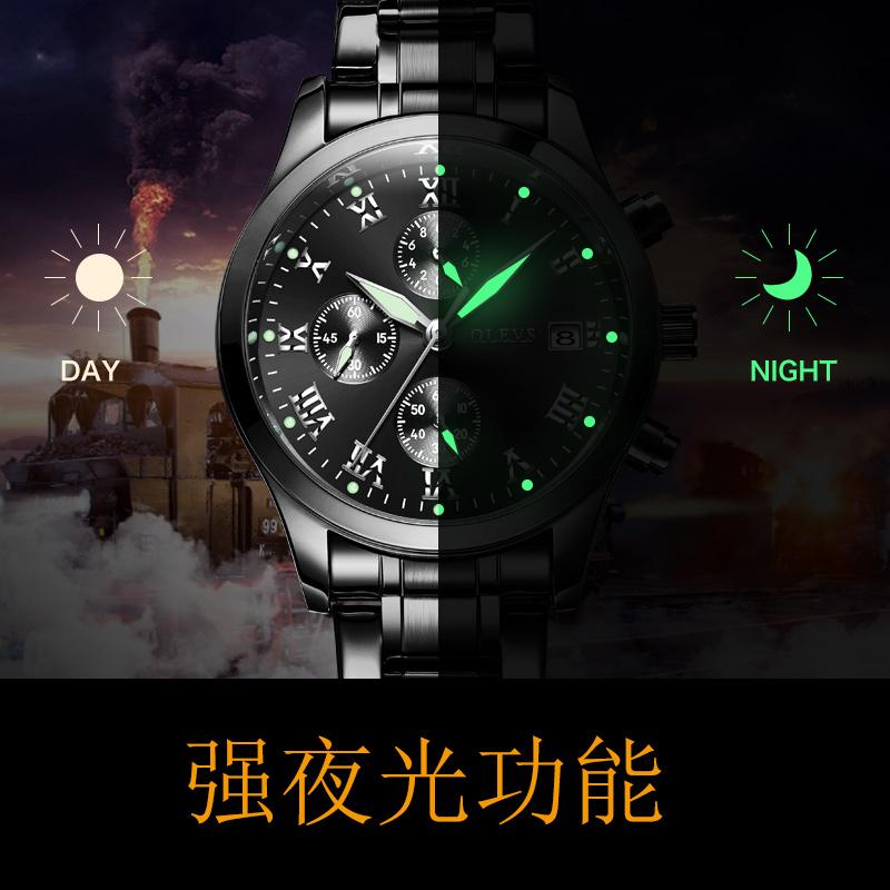 精钢带计是光手表男机械表 双日历商务男表 新款欧利时男士手表