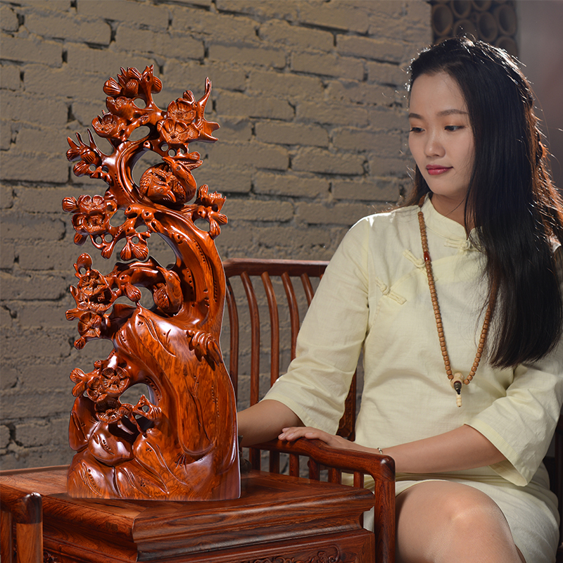 黄花梨木雕喜上眉梢根雕摆件雕刻工艺品家居招财客厅装饰品送礼品