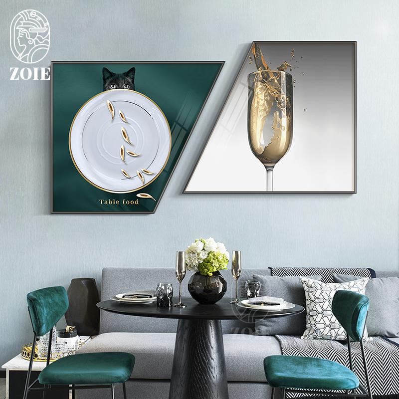 意式极简餐厅画现代风格轻奢酒杯餐具挂画西餐厅饭厅背景墙装饰画