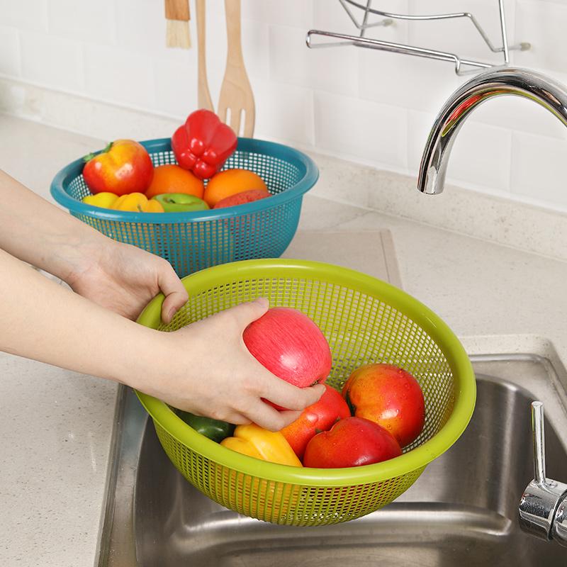 茶花沥水篮洗菜篮子菜篮家用塑料菜盆漏盆洗菜篓厨房水果篮洗菜盆高清大图