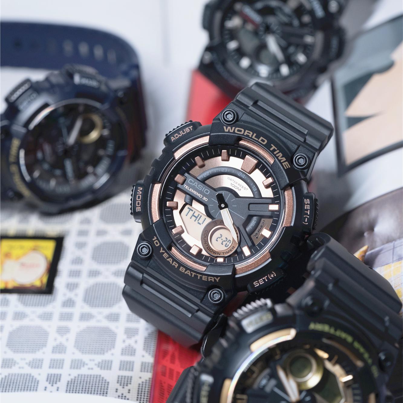 AEQ  1B1A 110W CASIO 卡西欧手表时尚指针双显防水防震运动石英男表