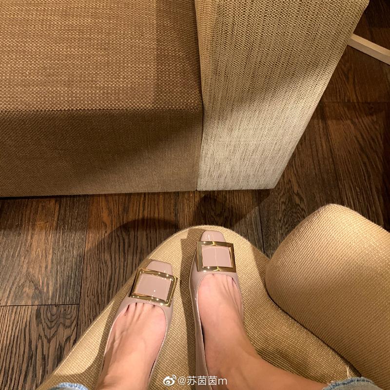 新款真皮方头浅口方扣单鞋女平底鞋 口碑系列 苏茵茵 sheii