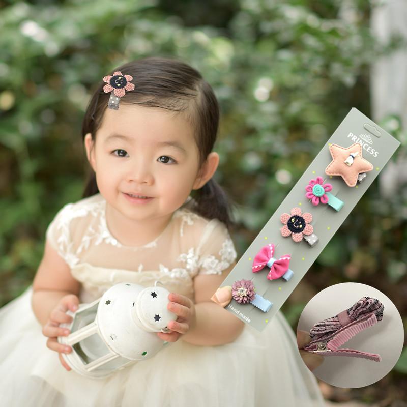 儿童发饰女宝宝发夹全包布安全小夹子女童小女孩可爱卖萌头饰包邮