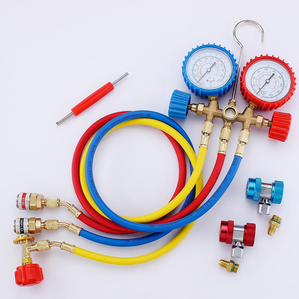 汽车空调加氟表工具套装雪种压力表冷媒双表阀加液打压R134A 包邮